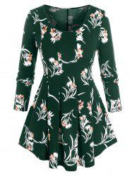 Plus Size Flower Print Pleated A Line Tunic Top -