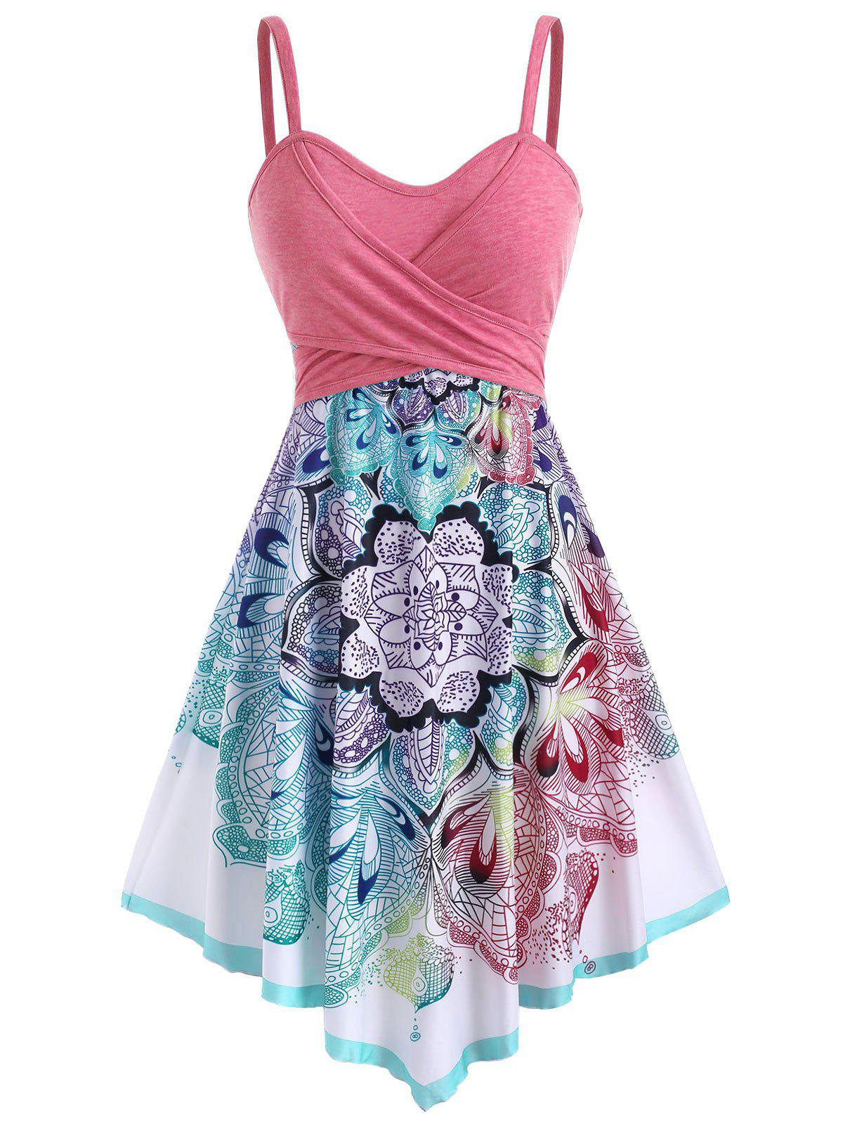 Shops Bohemian Flower Crossover Sleeveless Dress