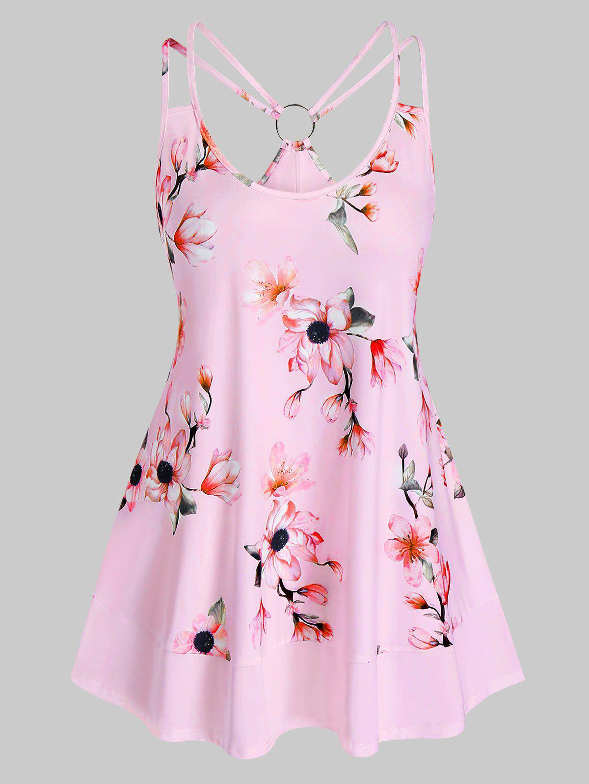 Shops Plus Size O Ring Floral Print Strappy Tank Top