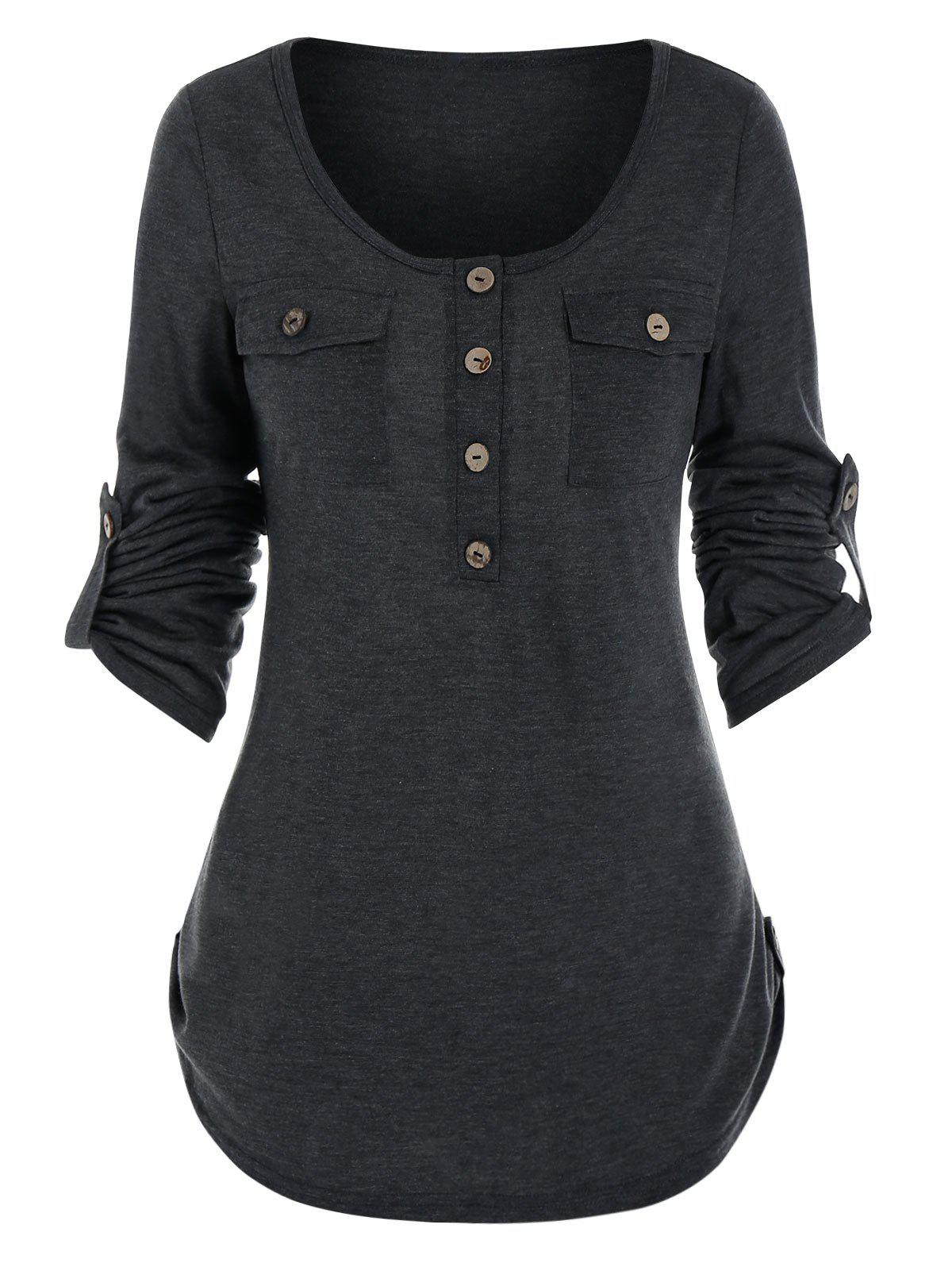 Fancy Buttons Pockets Roll Tab Sleeve Casual T-shirt