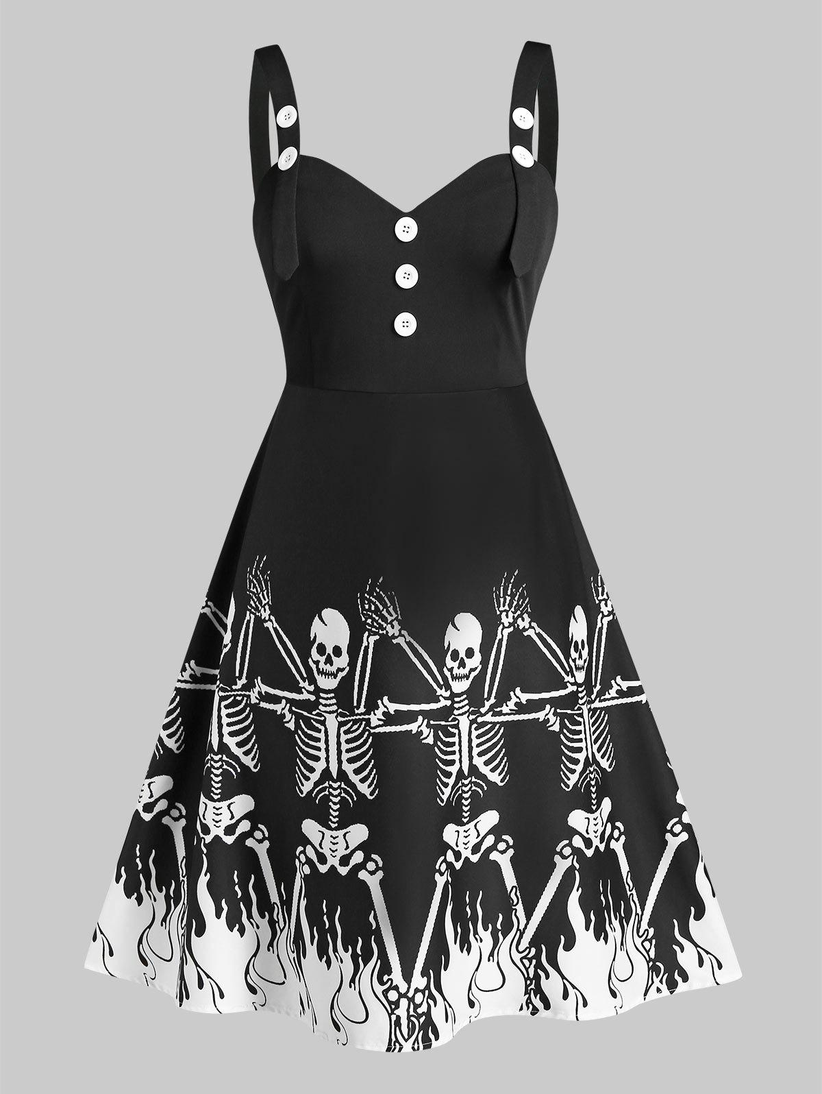 Shops Plus Size Skeleton Pattern Sweetheart Neck Dress