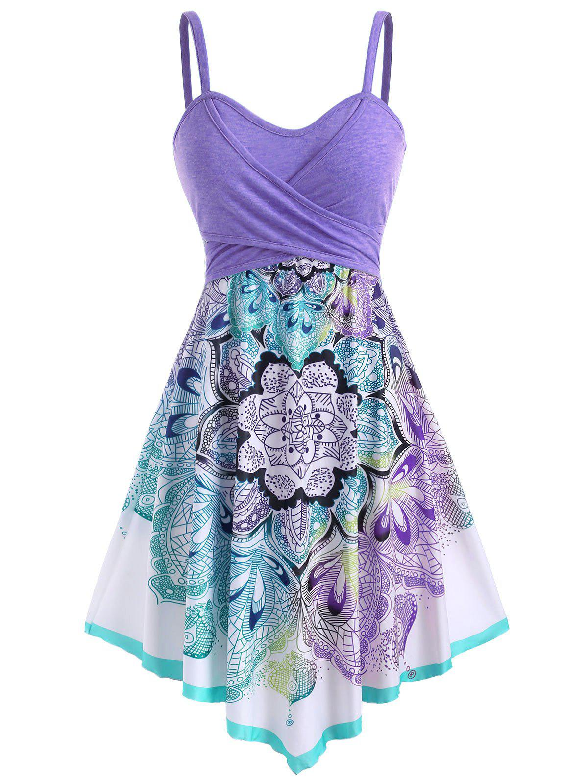 Outfit Bohemian Flower Crossover Sleeveless Dress