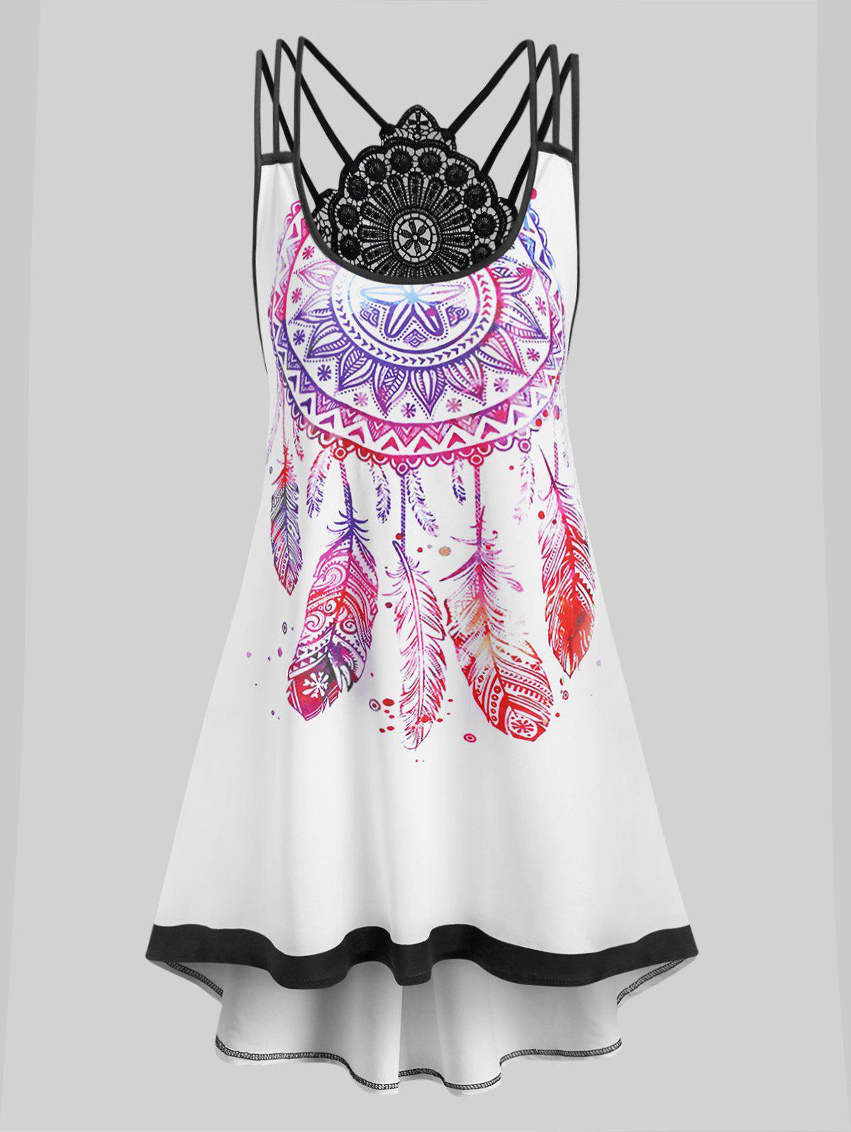 Outfits Plus Size Strappy Dreamcatcher Print High Low Dress