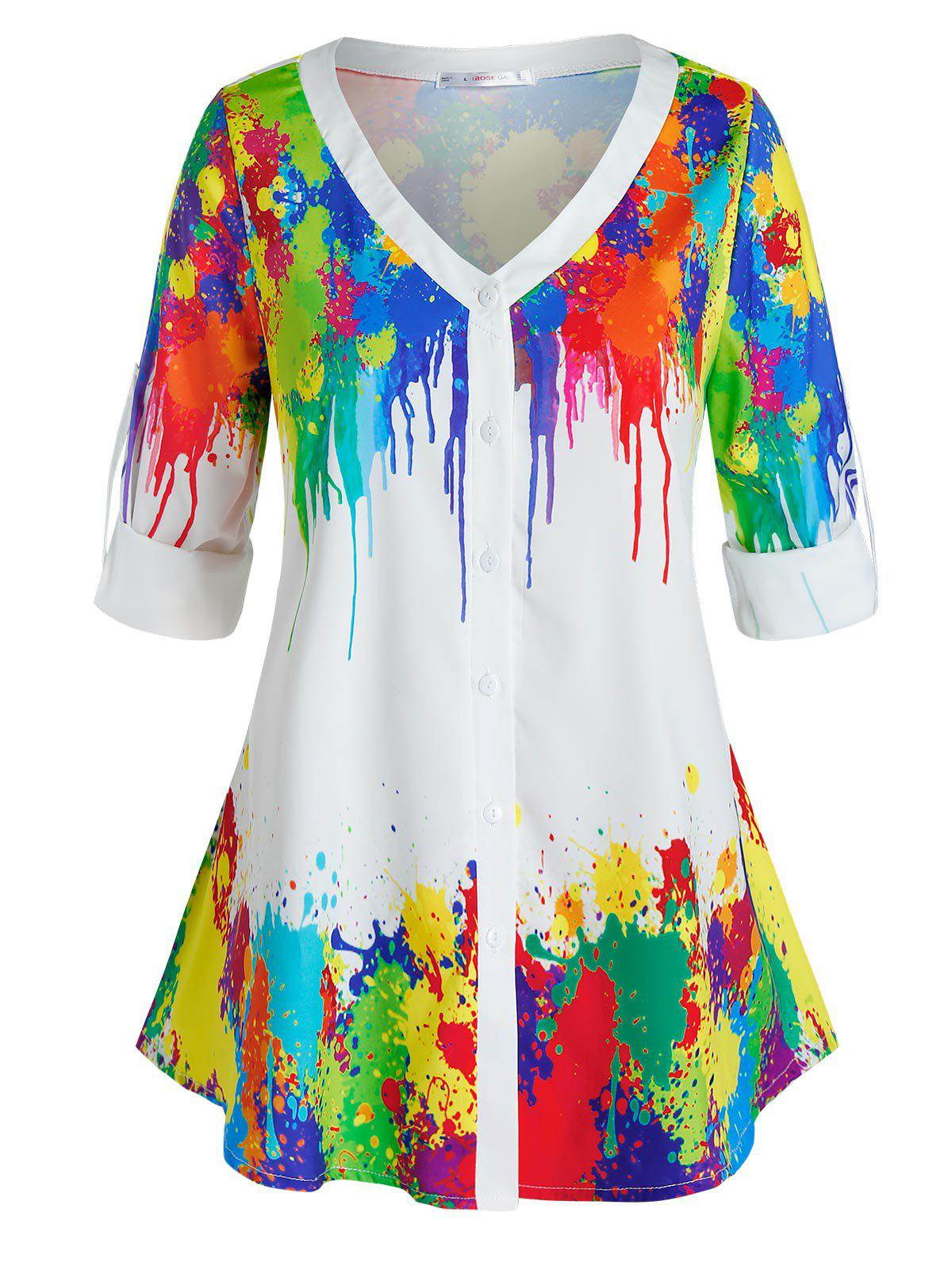 Latest Plus Size Colorful Splatter Paint Roll Tab Sleeve Top