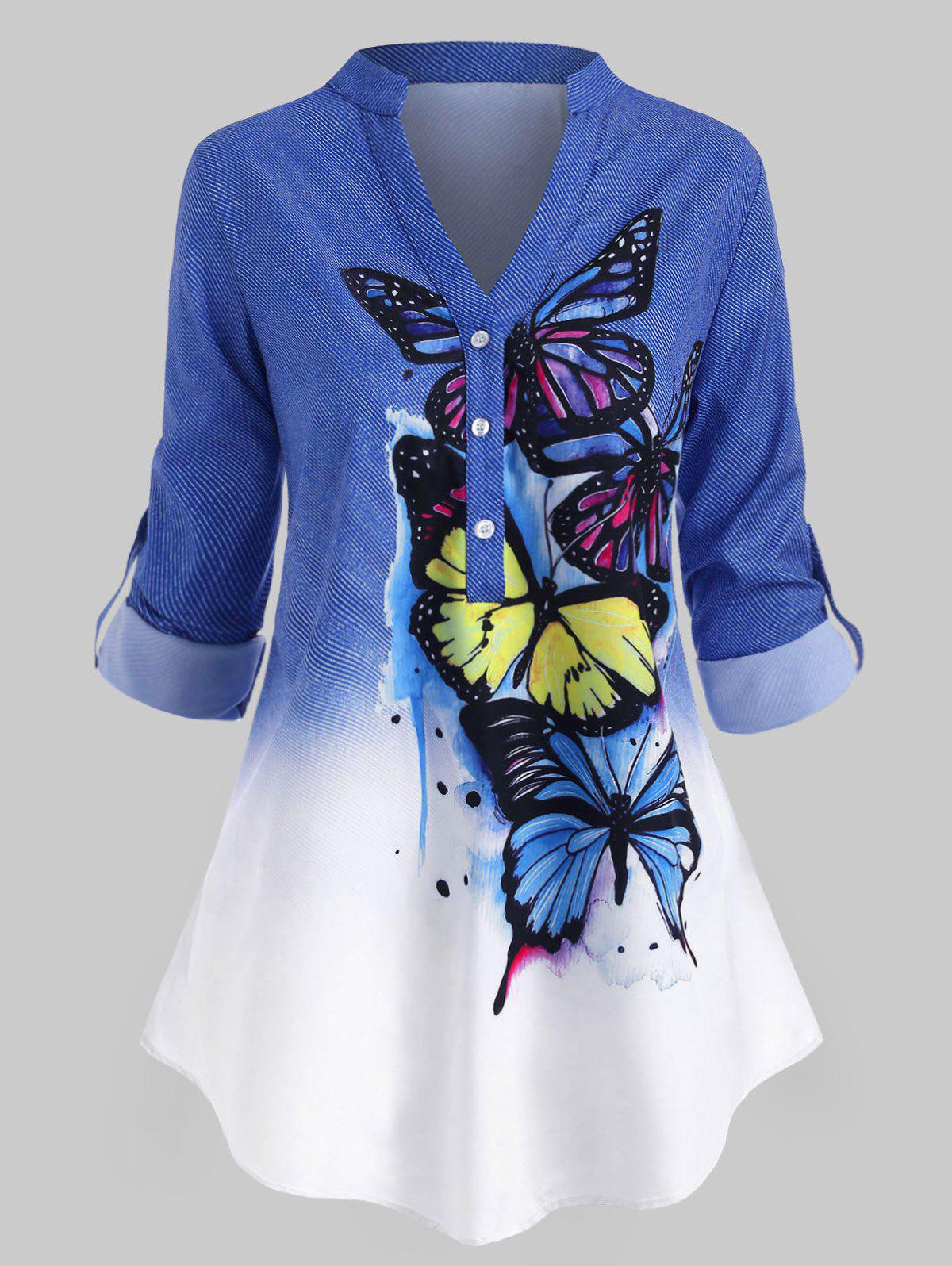 Online Plus Size Butterfly Print  Roll Up Sleeve Ombre Color Top
