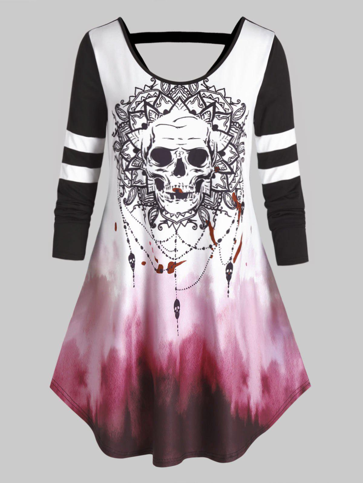 New Plus Size Halloween Skull Tie Dye Cutout Curved Tee