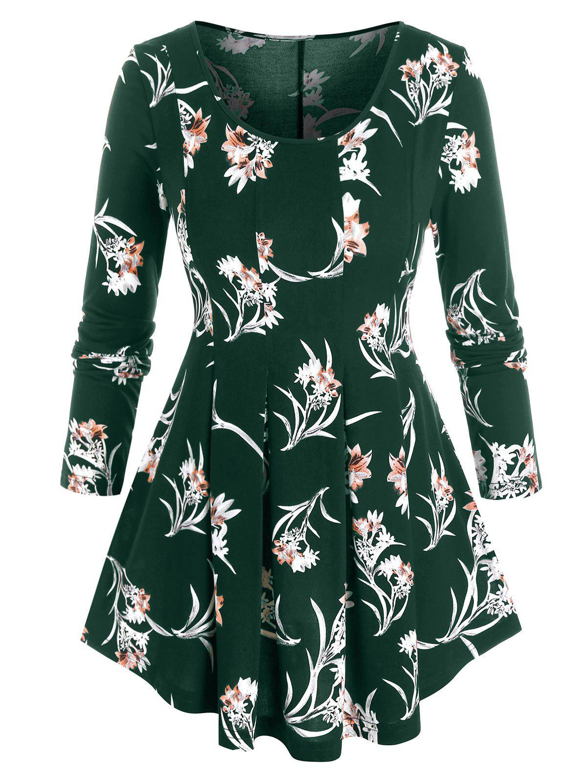 Online Plus Size Flower Print Pleated A Line Tunic Top