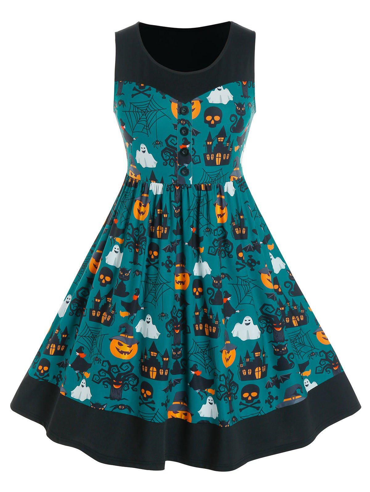 Plus Size Halloween Ghost Print Button Dress фото