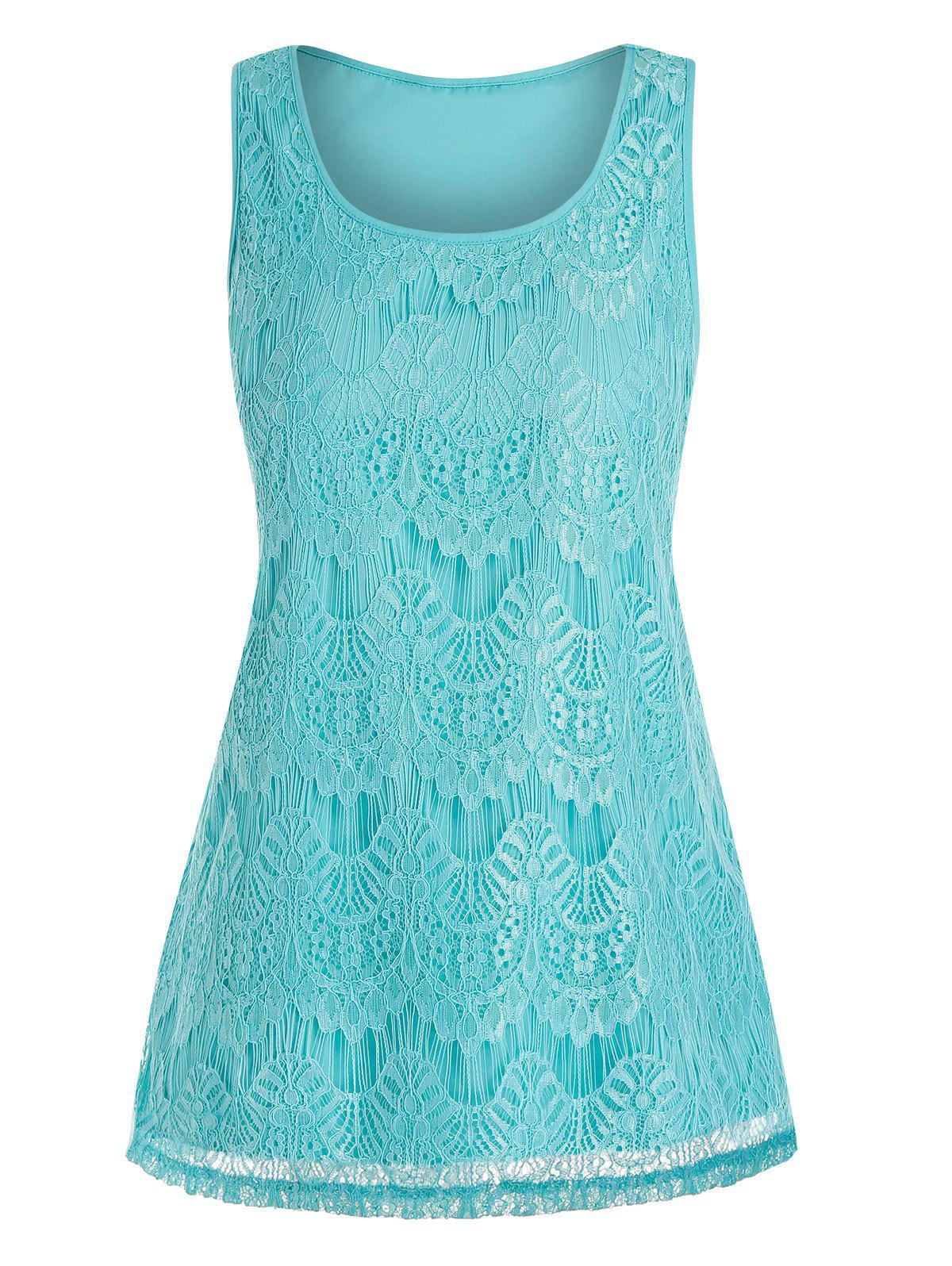 Store Plus Size Lace Overlay Swing Tank Top