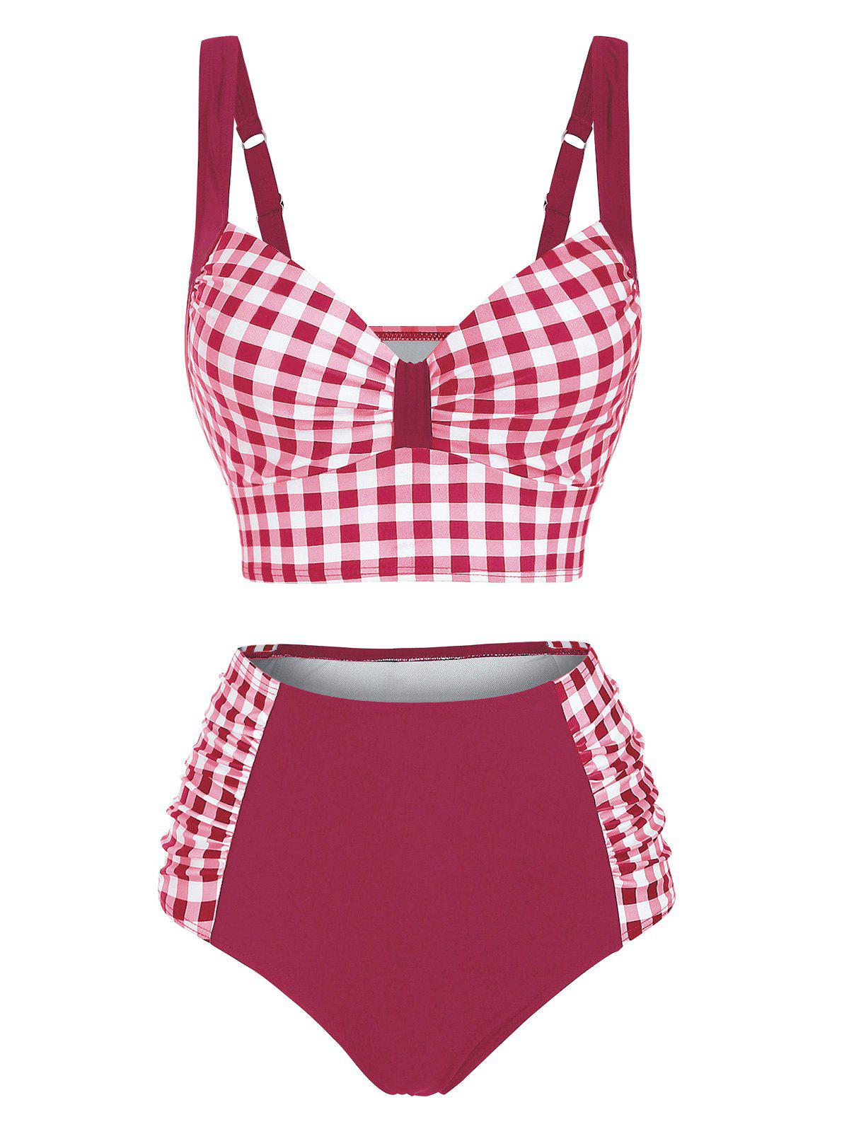 Affordable Gingham Underwire Ruched High Rise Tankini Swimwear