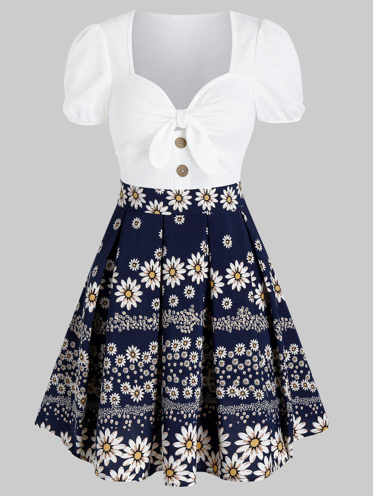 Outfits Floral Print Knotted Mini Pleated Dress