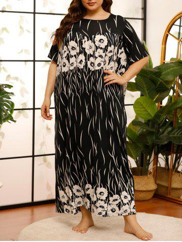 Plus Size Flower Print Maxi T-shirt Pajama Dress