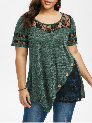 Plus Size Marled Lace Insert T Shirt - SEA GREEN - 4X