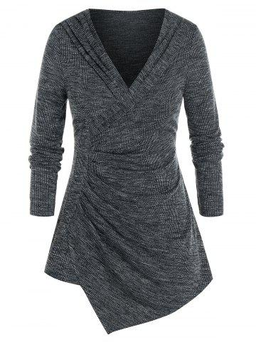 Plus Size Asymmetrical Shawl Collar Ruched Marled Sweater