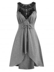 Crochet Panel Lace-up High Low Casual Dress -