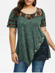 Plus Size Marled Lace Insert T Shirt -