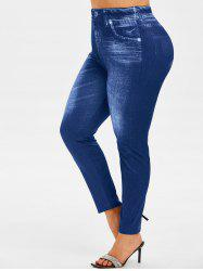 Plus Size High Waisted 3D Jean Print Jeggings -