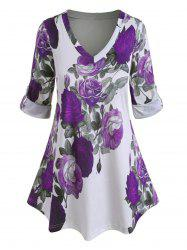 Plus Size Roll Up Sleeve Floral Print Blouse -
