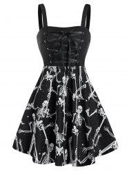 Halloween Skeleton Print Lace-up Sleeveless Skater Dress -