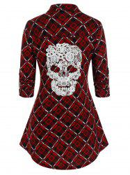 Plus Size Plaid Crochet Skull Button Up Curved Hem Shirt -