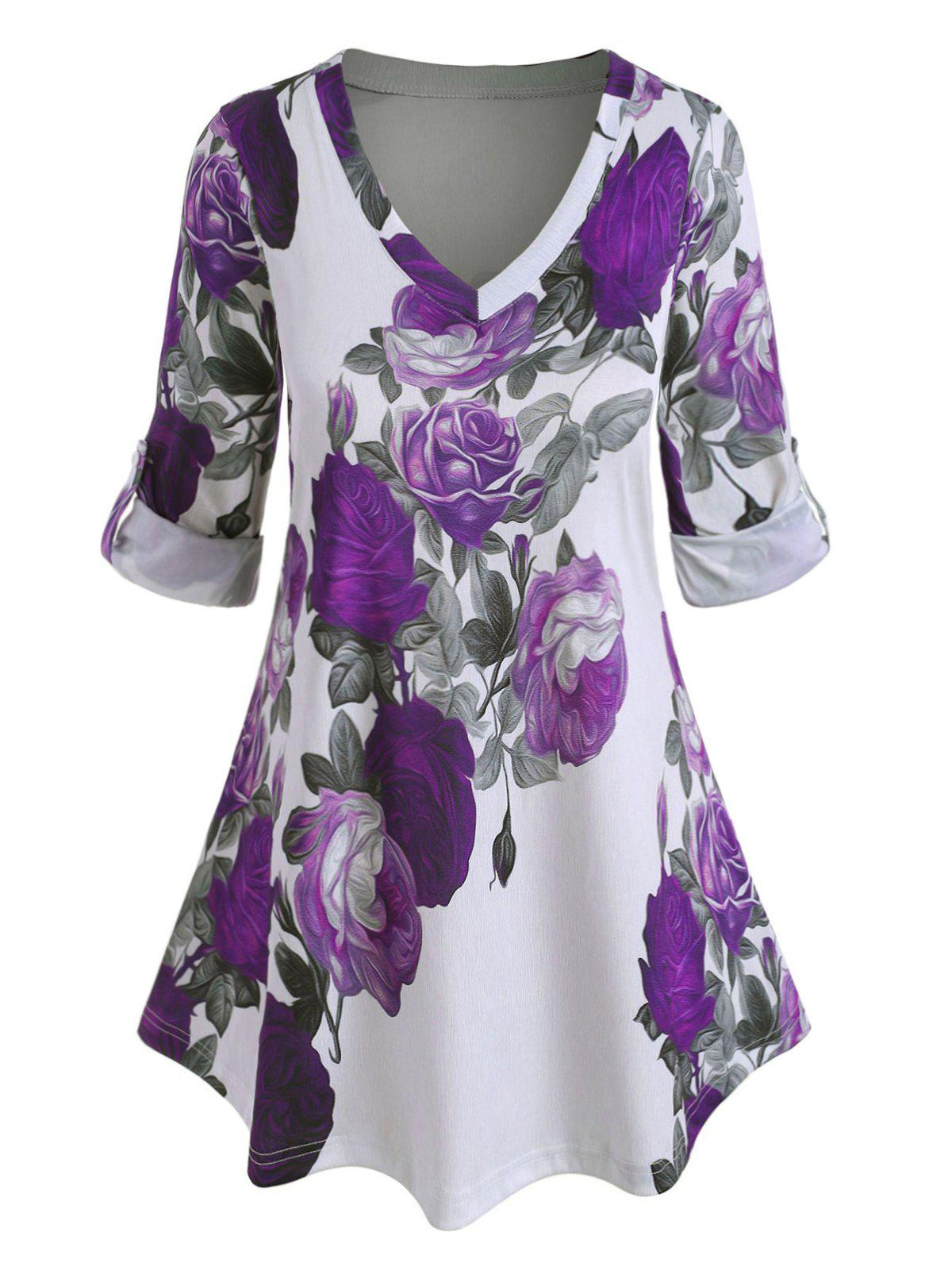 Discount Plus Size Roll Up Sleeve Floral Print Blouse