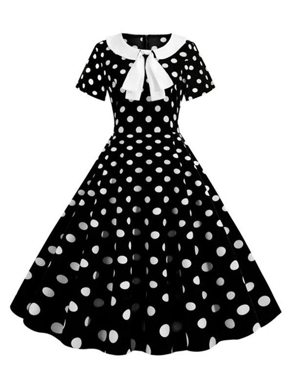 Plus Size Polka Dot A Line Bowknot Vintage Dress фото