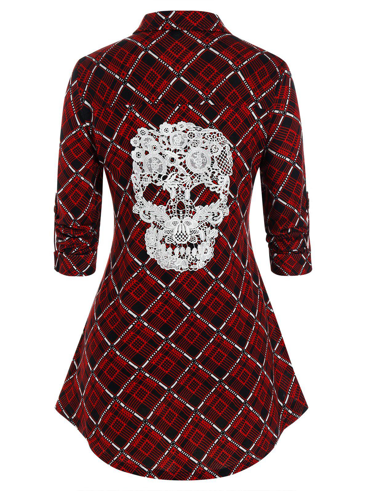 Cheap Plus Size Plaid Crochet Skull Button Up Curved Hem Shirt