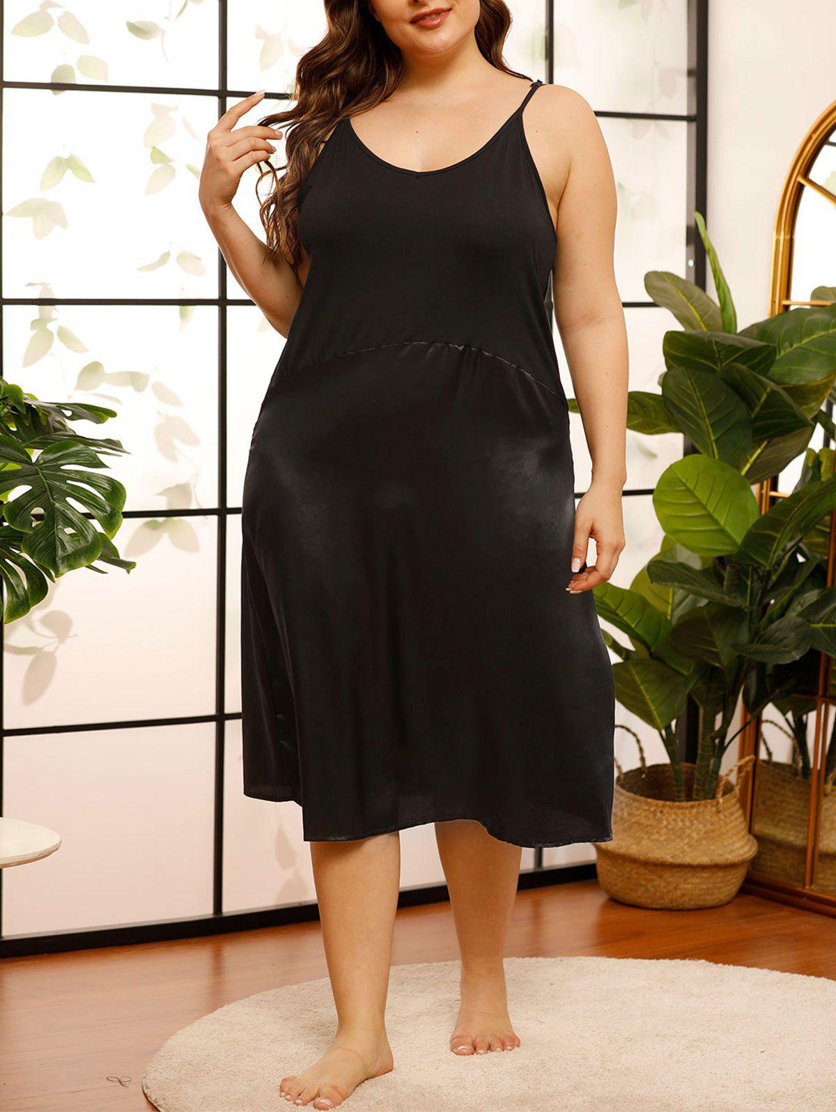 Affordable Plus Size Satin Backless Cami Pajama Dress