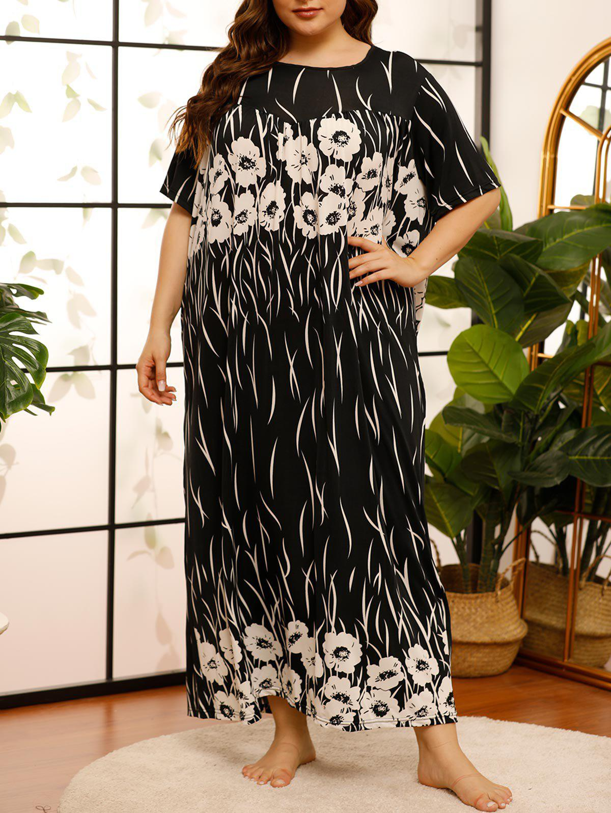 New Plus Size Flower Print Maxi T-shirt Pajama Dress
