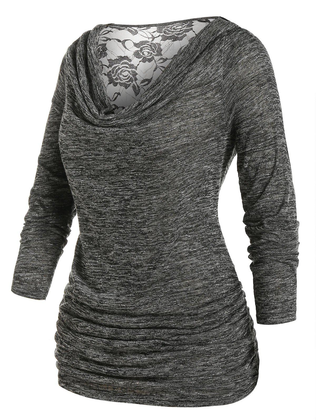 Plus Size Cowl Neck Lace Panel Ruched Marled Tee фото