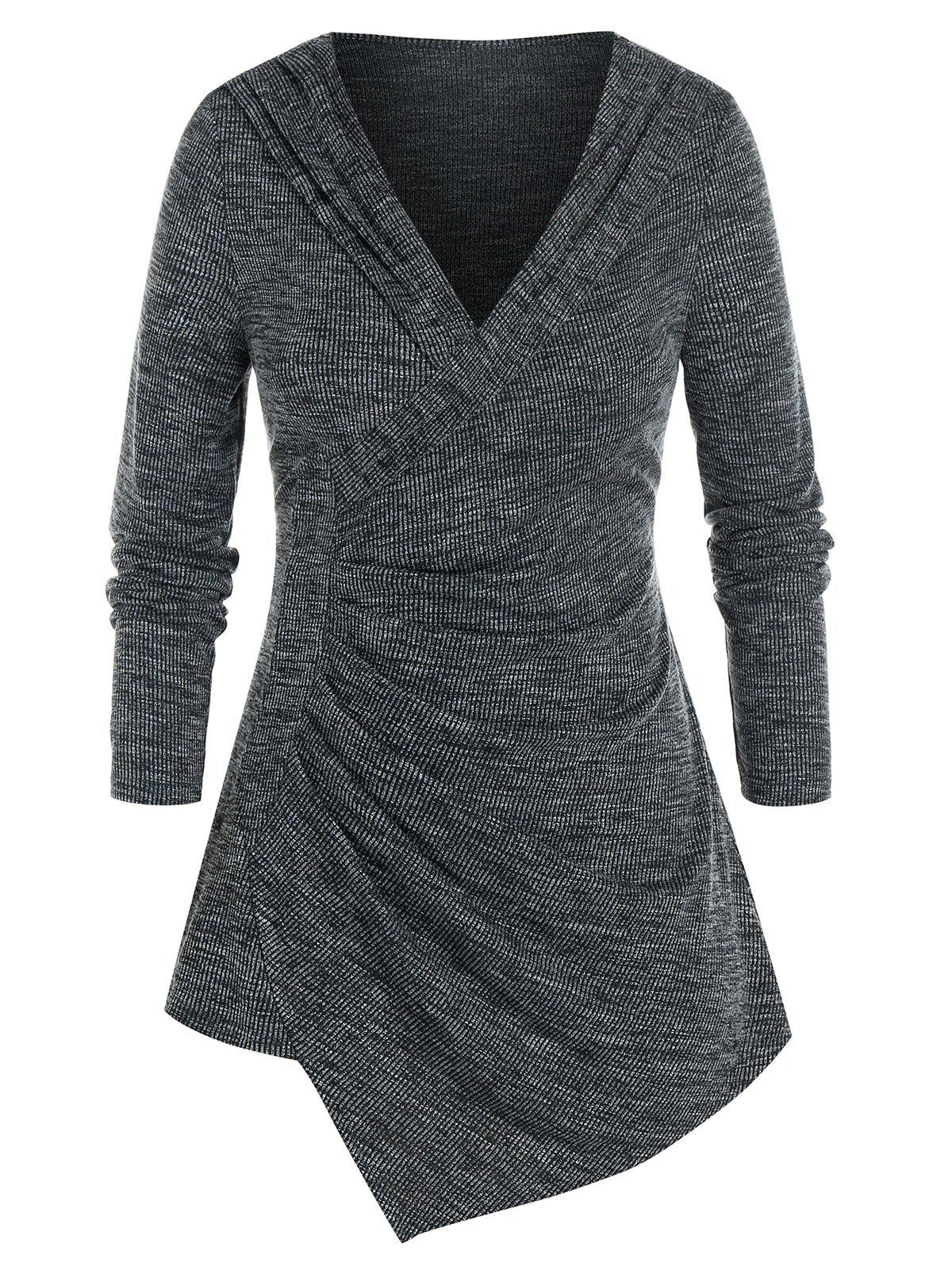Hot Plus Size Asymmetrical Shawl Collar Ruched Marled Sweater