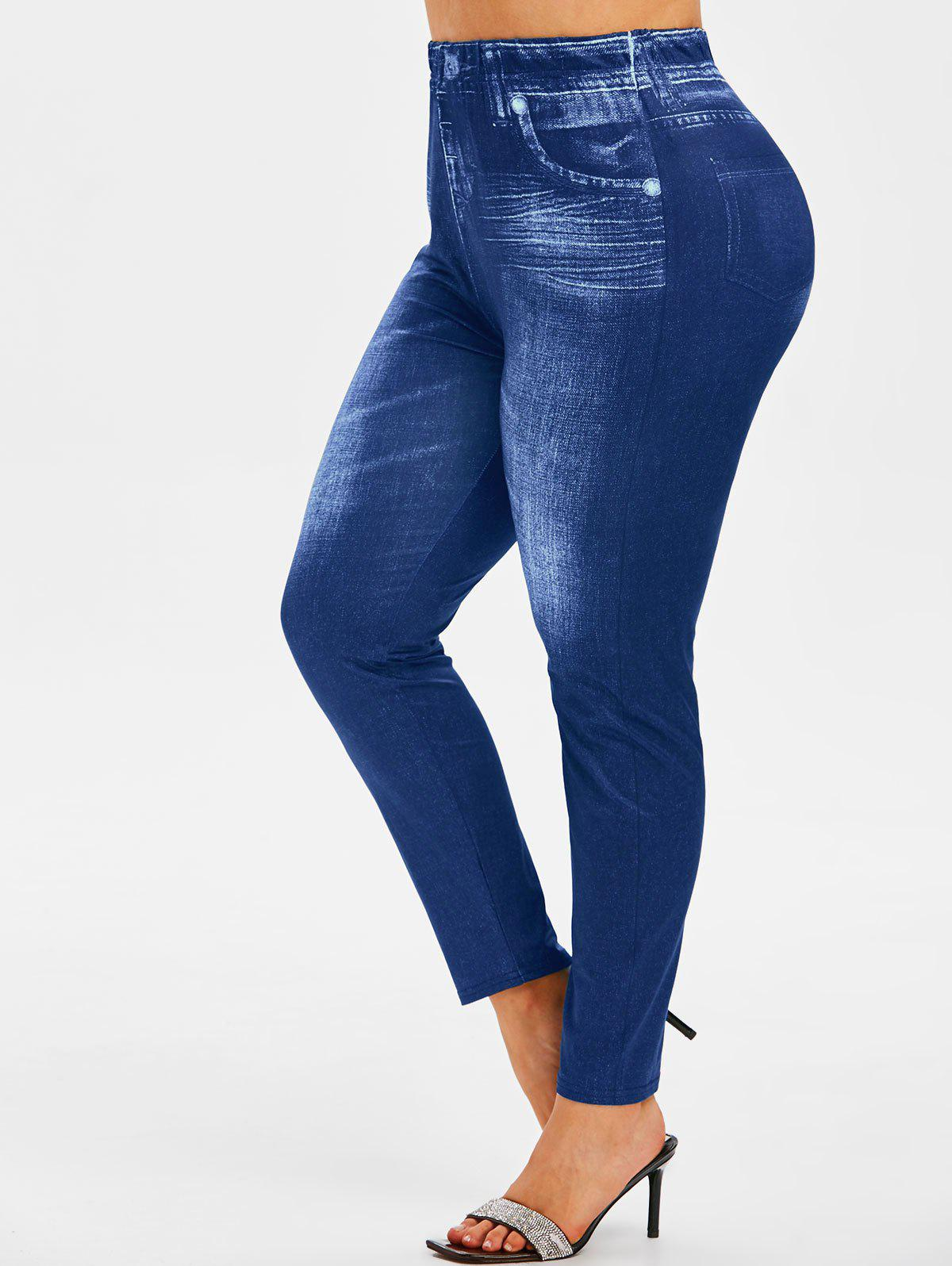 Best Plus Size High Waisted 3D Jean Print Jeggings