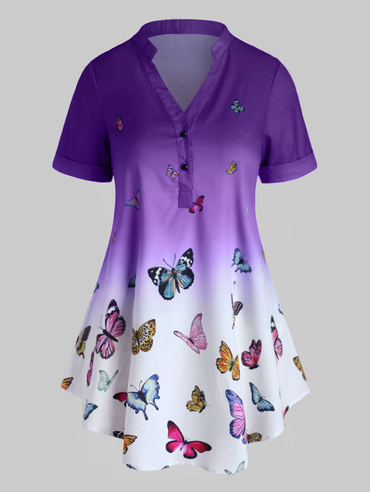 Buy Plus Size Ombre Butterfly Print Rolled Cuff Henley Blouse