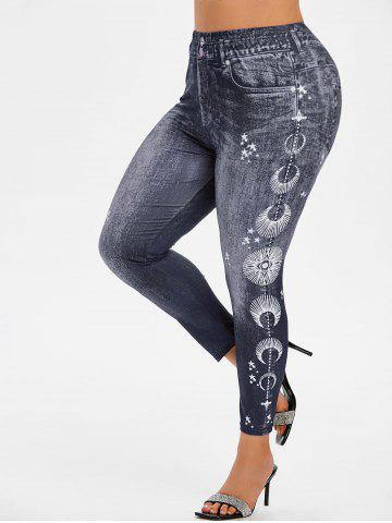 Plus Size 3D Print Star High Waisted Jeggings