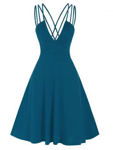 Fit And Flare Low Cut Criss Cross Straps Dress - PEACOCK BLUE - 2XL