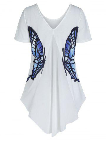 High Low Butterfly Graphic Short Sleeve T Shirt - WHITE - 3XL