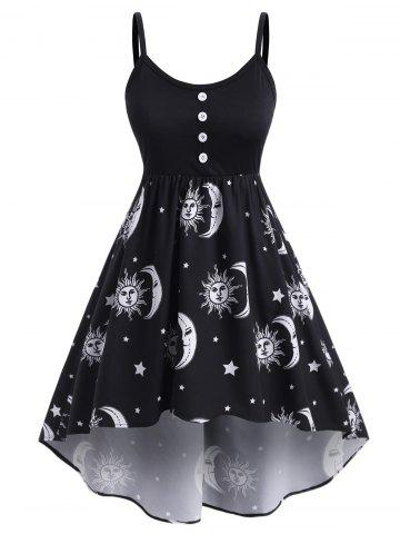 Plus Size High Low Sun Moon Print Dress