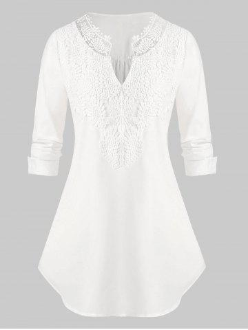 Plus Size Applique Panel Roll Tab Sleeve V Notch Blouse - WHITE - L