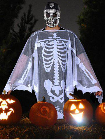 Halloween Skeleton Skull Party Dress Mesh Cape