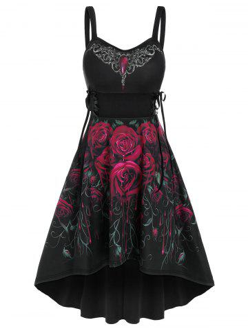 Sleeveless Flower Print Lace-up High Low Gothic Dress - BLACK - M
