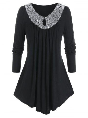 Plus Size Asymmetric Sequin Keyhole T Shirt - BLACK - 1X