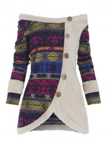 Faux Fur Insert Tribal Pattern Mock Button Sweater