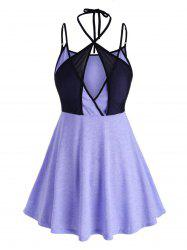Plus Size Mesh Panel Crossover Cami Top -