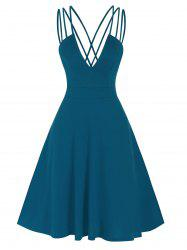 Fit And Flare Low Cut Criss Cross Straps Dress -