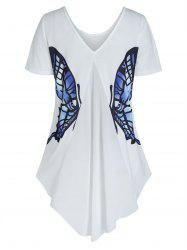 High Low Butterfly Graphic Short Sleeve T Shirt -