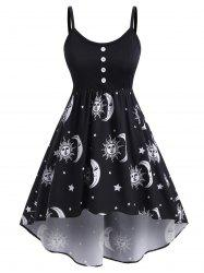 Plus Size High Low Sun Moon Print Dress -