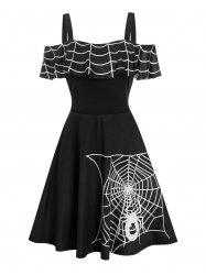 Halloween Spider Web Print Skater Dress -