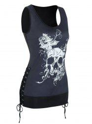 Skull Graphic Side Lace Up Longline Tank Top -