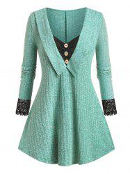 Plus Size Contrast Lace Tunic Knitwear -