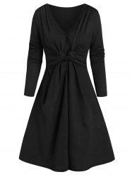 Twisted Front Ribbed Long Sleeve Dress -